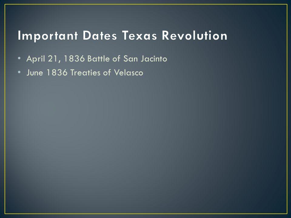 1836 – Sam Houston is elected president 1838 – Mirabeau Lamar is elected president 1840 – Council House fight 1842 – Mier expedition 1841 – Sam Houston is elected president 1844 – Anson Jones is elected president 1845 – Texas is annexed into the United States