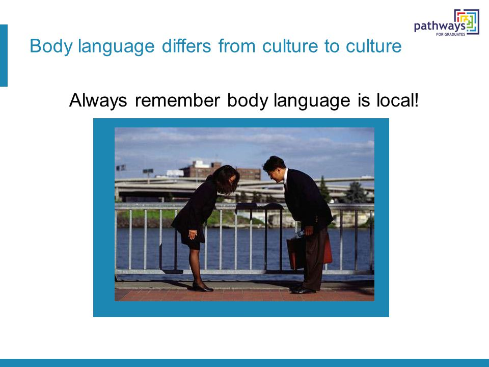 Body language differs from culture to culture Always remember body language is local!