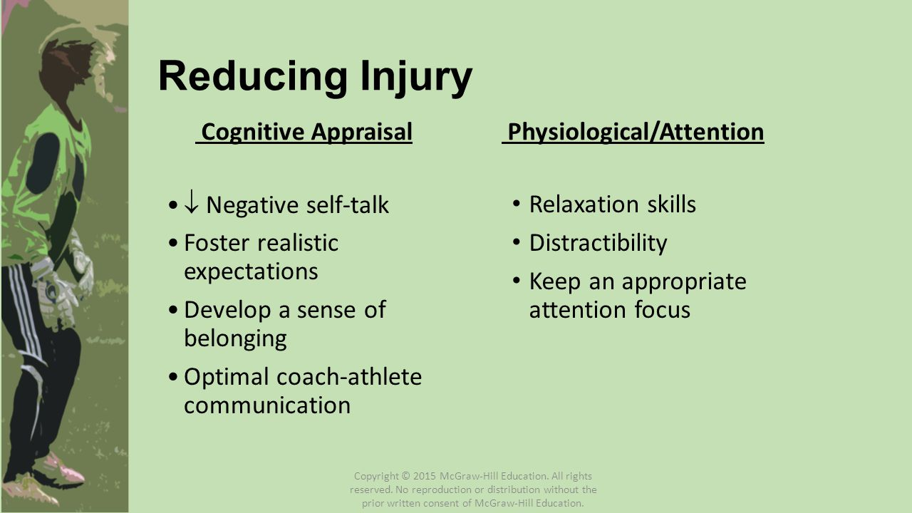 Reducing Injury Cognitive Appraisal  Negative self-talk Foster realistic expectations Develop a sense of belonging Optimal coach-athlete communicatio