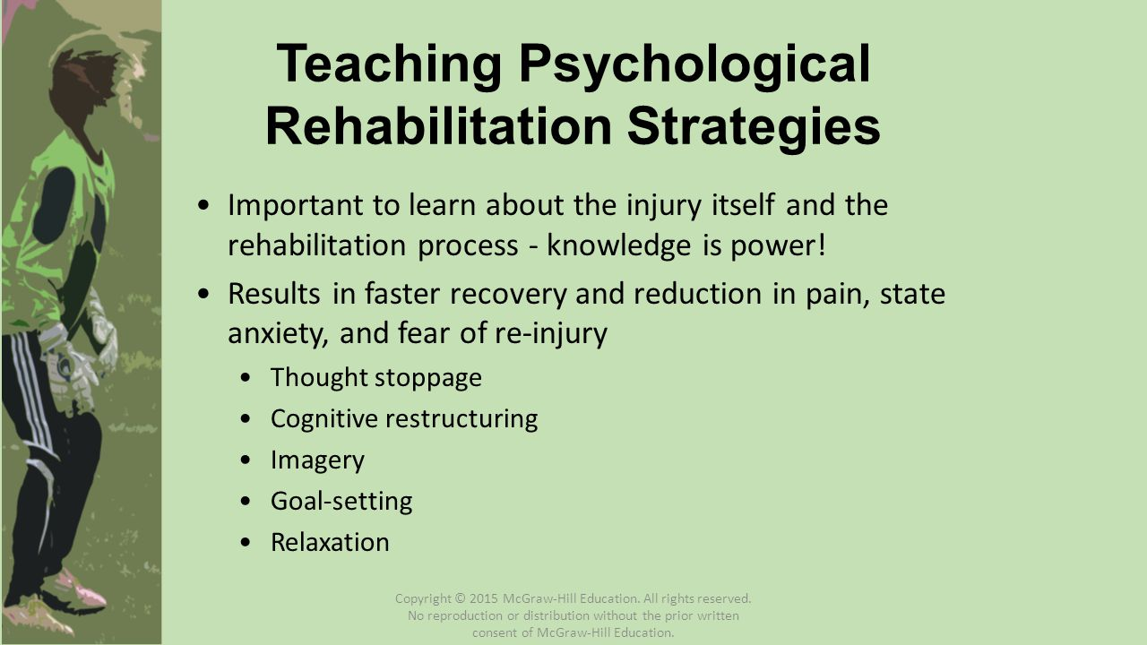 Important to learn about the injury itself and the rehabilitation process - knowledge is power! Results in faster recovery and reduction in pain, stat