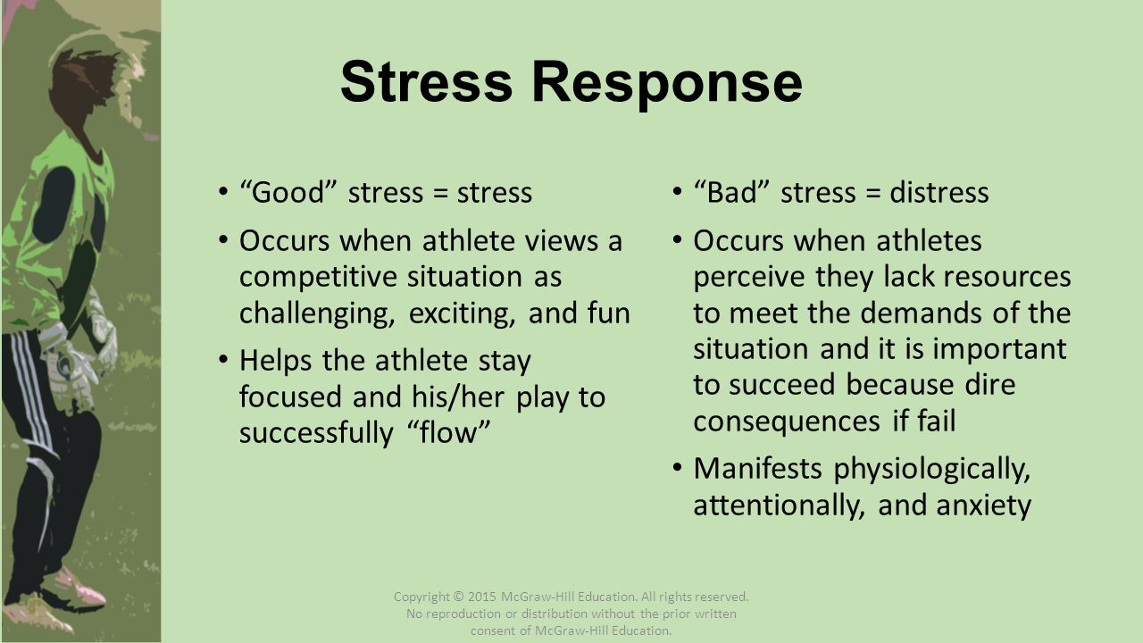 Good stress = stress Occurs when athlete views a competitive situation as challenging, exciting, and fun Helps the athlete stay focused and his/her play to successfully flow Bad stress = distress Occurs when athletes perceive they lack resources to meet the demands of the situation and it is important to succeed because dire consequences if fail Manifests physiologically, attentionally, and anxiety Stress Response Copyright © 2015 McGraw-Hill Education.
