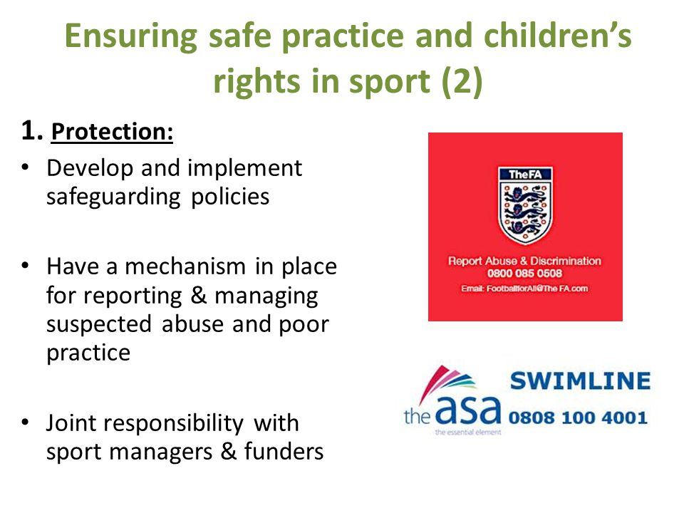 Ensuring safe practice and children's rights in sport (2) 1.