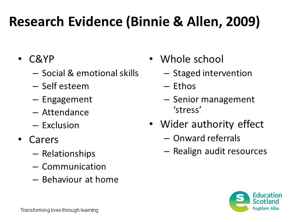 Transforming lives through learning Research Evidence (Binnie & Allen, 2009) C&YP – Social & emotional skills – Self esteem – Engagement – Attendance