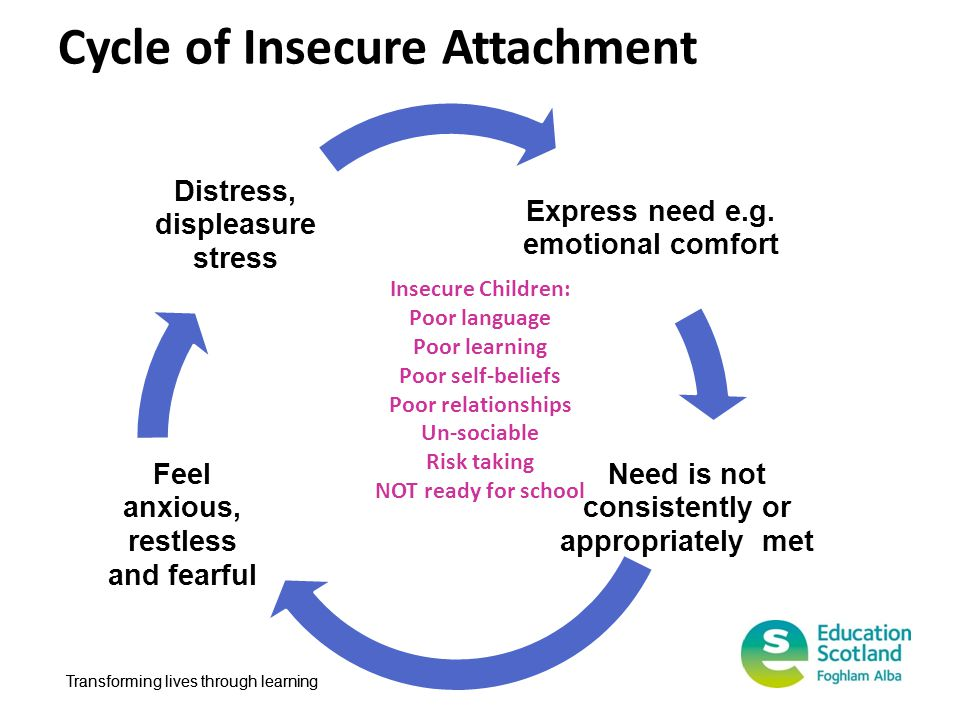 Transforming lives through learning Cycle of Insecure Attachment Insecure Children: Poor language Poor learning Poor self-beliefs Poor relationships U