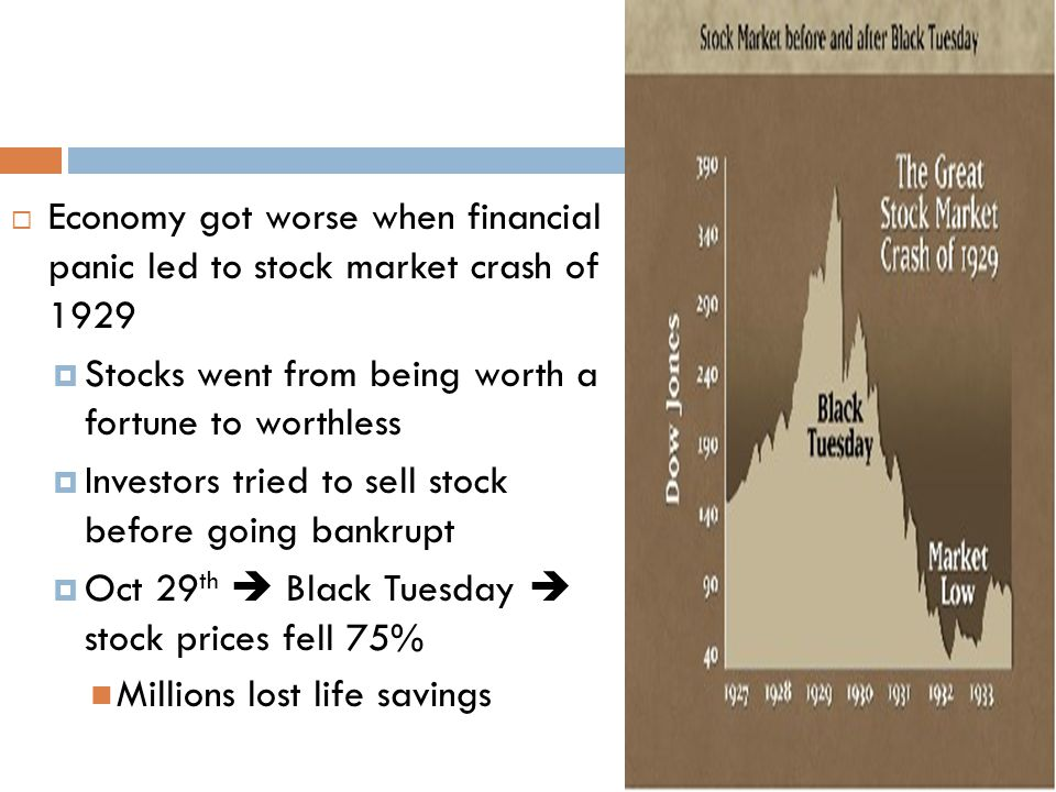  Economy got worse when financial panic led to stock market crash of 1929  Stocks went from being worth a fortune to worthless  Investors tried to