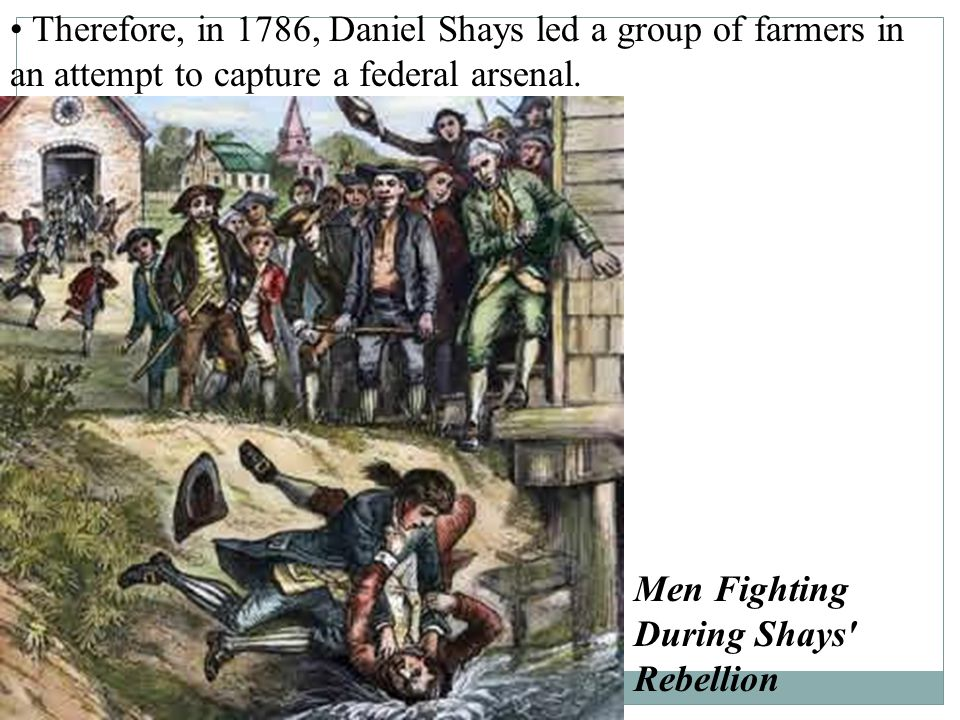 Shays' Rebellion Farmer's income decreased while taxes increased. Farmers who could not pay their debts had their farms taken away by the courts. Mass