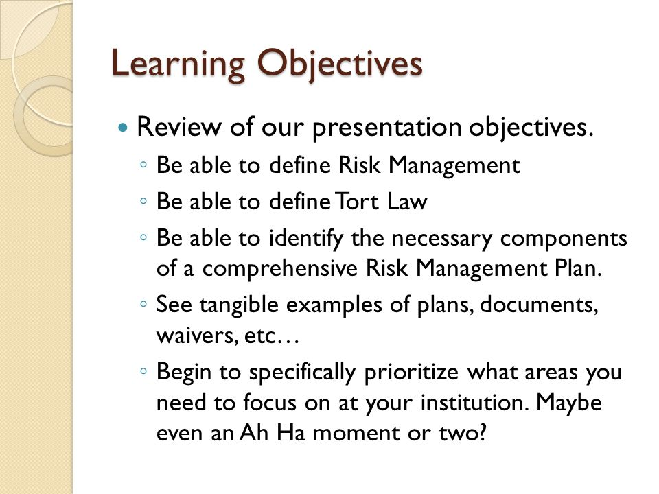 Learning Objectives Review of our presentation objectives.