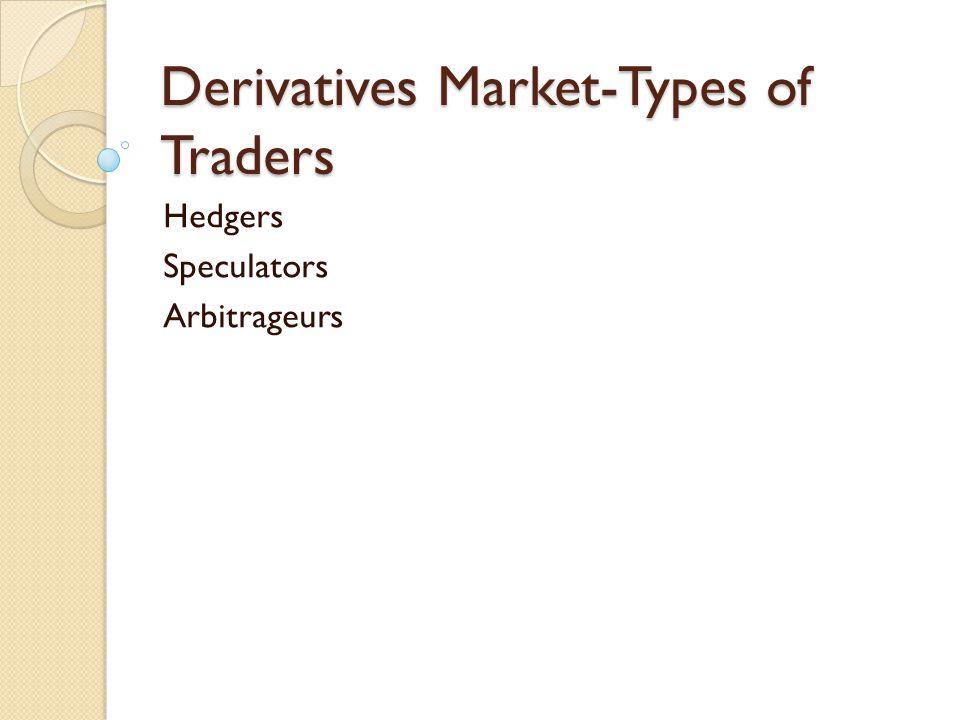 Derivatives Market-Types of Traders Hedgers Speculators Arbitrageurs