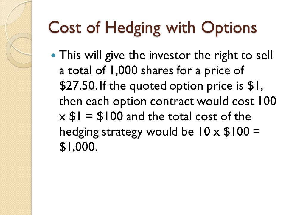 Cost of Hedging with Options This will give the investor the right to sell a total of 1,000 shares for a price of $27.50. If the quoted option price i