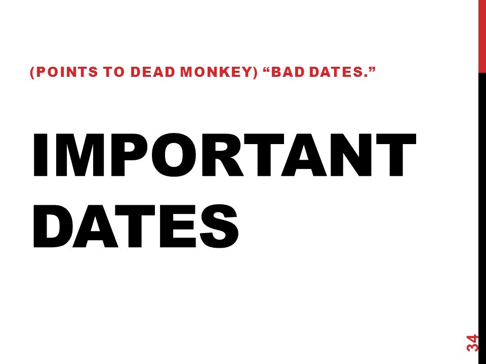 IMPORTANT DATES (POINTS TO DEAD MONKEY) BAD DATES. 34