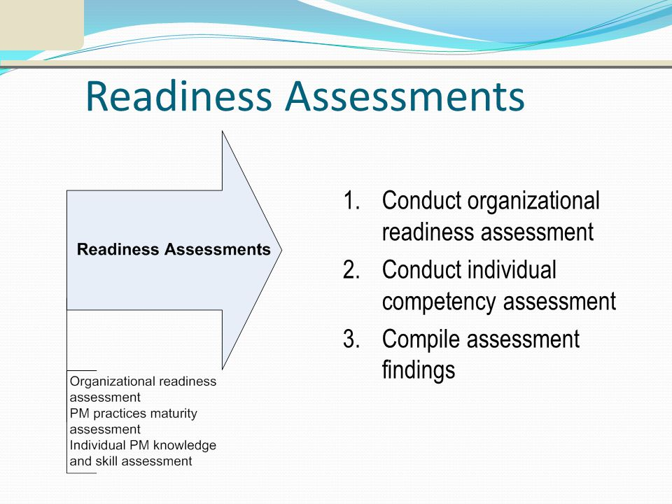 Readiness Assessments 1.Conduct organizational readiness assessment 2.Conduct individual competency assessment 3.Compile assessment findings