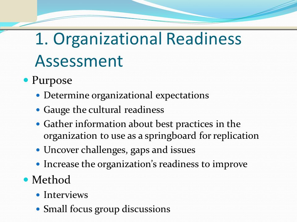 1. Organizational Readiness Assessment Purpose Determine organizational expectations Gauge the cultural readiness Gather information about best practi