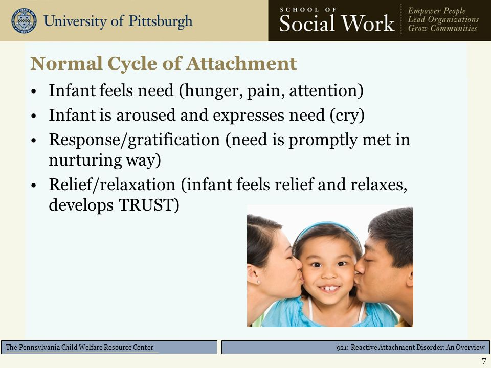 921: Reactive Attachment Disorder: An Overview The Pennsylvania Child Welfare Resource Center Normal Cycle of Attachment Infant feels need (hunger, pain, attention) Infant is aroused and expresses need (cry) Response/gratification (need is promptly met in nurturing way) Relief/relaxation (infant feels relief and relaxes, develops TRUST) 7