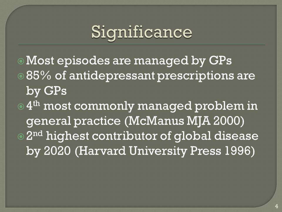  Major depression  Bipolar depression  Dysthymia  Adjustment disorder  PTSD  Substance use disorders  Personality disorders  Organic depression  Post psychotic depression 5