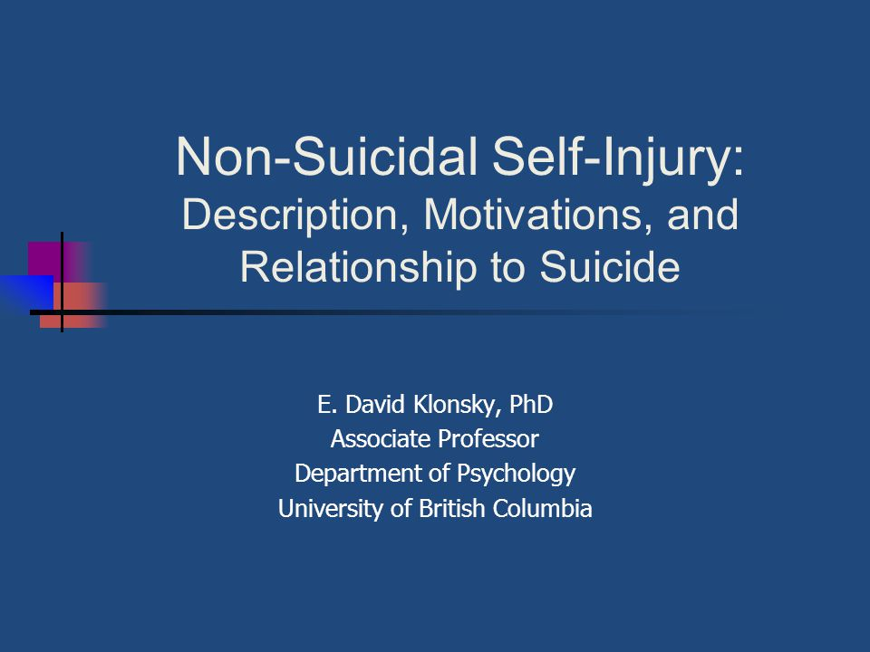 Non-Suicidal Self-Injury: Description, Motivations, and Relationship to Suicide E.