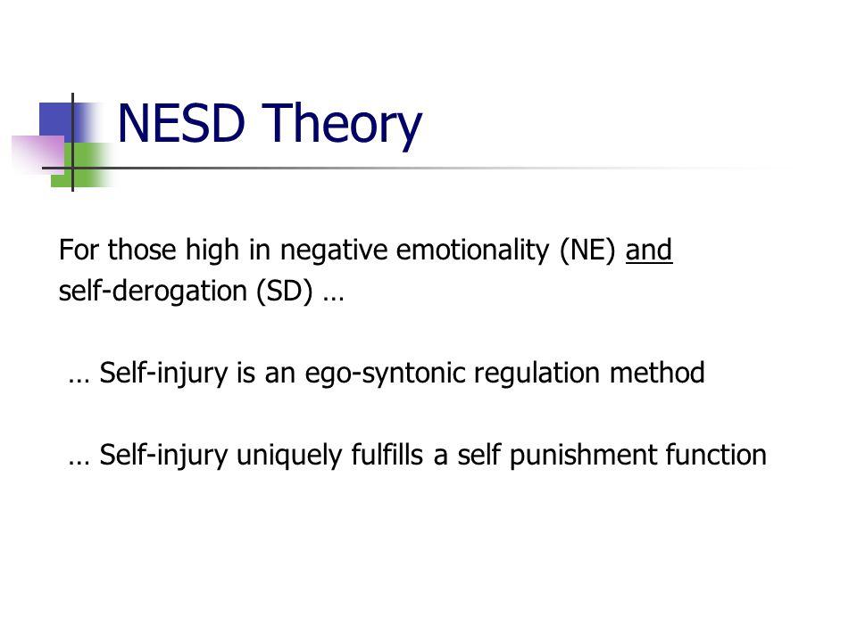 NESD Theory For those high in negative emotionality (NE) and self-derogation (SD) … … Self-injury is an ego-syntonic regulation method … Self-injury u