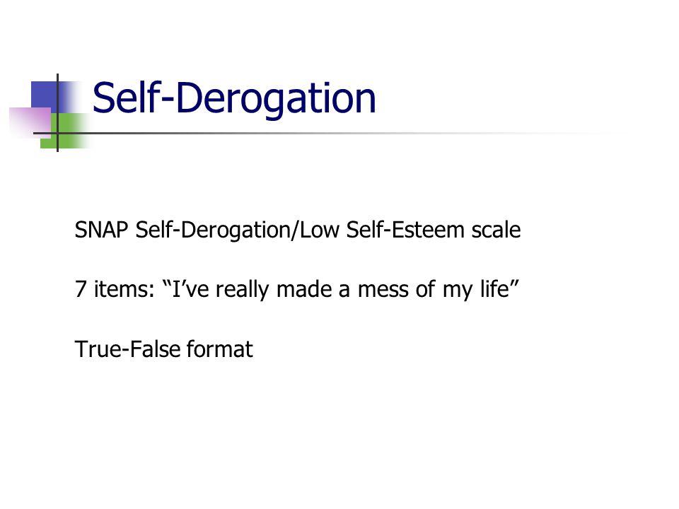"Self-Derogation SNAP Self-Derogation/Low Self-Esteem scale 7 items: ""I've really made a mess of my life"" True-False format"