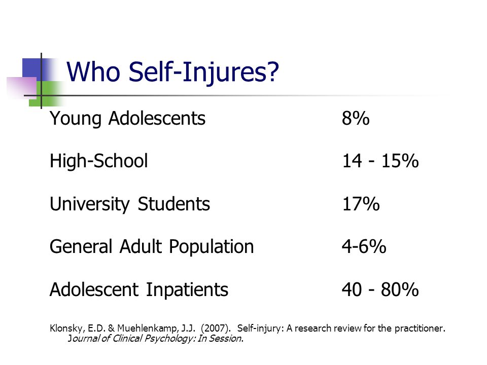 Who Self-Injures? Young Adolescents8% High-School 14 - 15% University Students17% General Adult Population4-6% Adolescent Inpatients40 - 80% Klonsky,