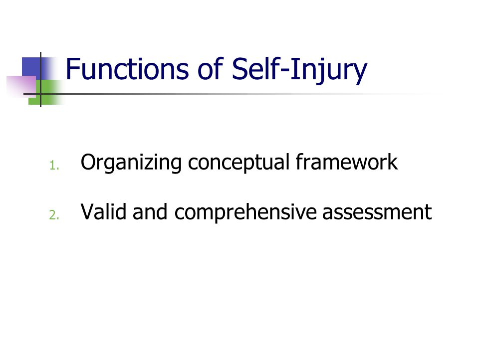 Functions of Self-Injury 1. Organizing conceptual framework 2. Valid and comprehensive assessment