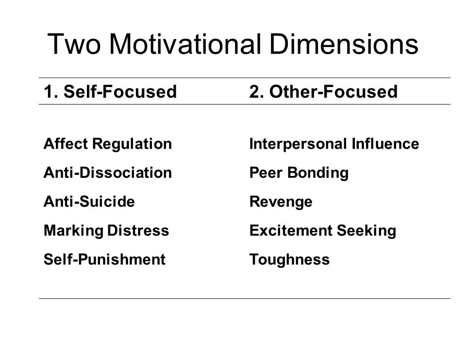 Two Motivational Dimensions 1.Self-Focused2.