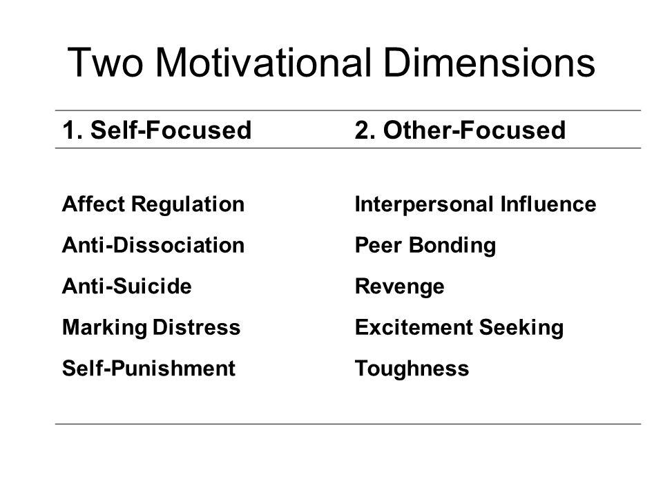 Two Motivational Dimensions 1. Self-Focused2. Other-Focused Affect RegulationInterpersonal Influence Anti-DissociationPeer Bonding Anti-SuicideRevenge