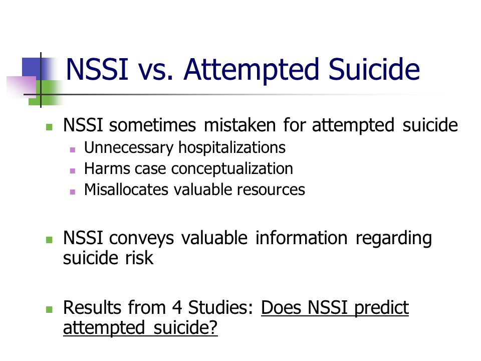 NSSI vs. Attempted Suicide NSSI sometimes mistaken for attempted suicide Unnecessary hospitalizations Harms case conceptualization Misallocates valuab