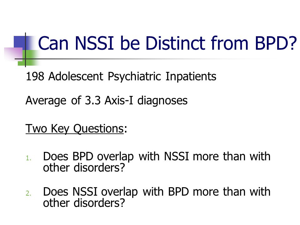 Can NSSI be Distinct from BPD.