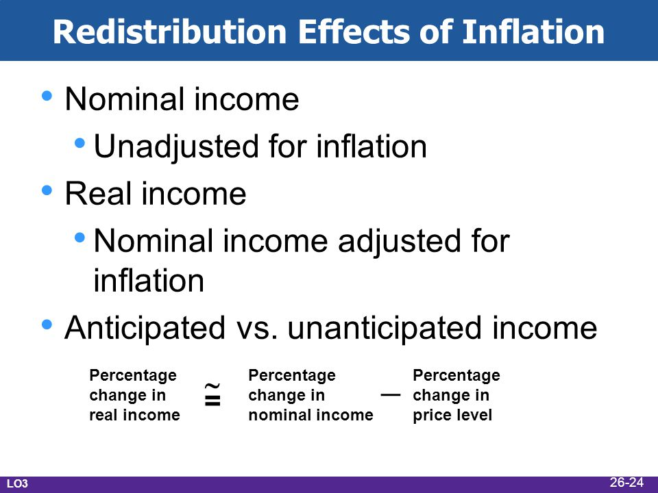 Redistribution Effects of Inflation Nominal income Unadjusted for inflation Real income Nominal income adjusted for inflation Anticipated vs.