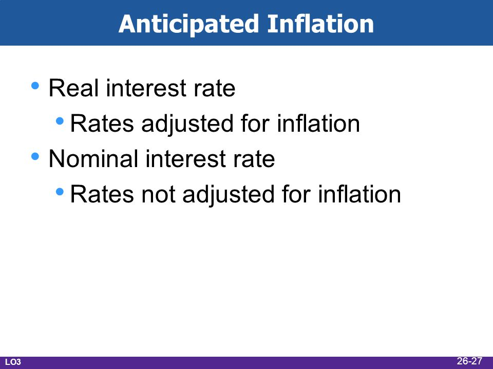 Anticipated Inflation Real interest rate Rates adjusted for inflation Nominal interest rate Rates not adjusted for inflation LO3 26-27