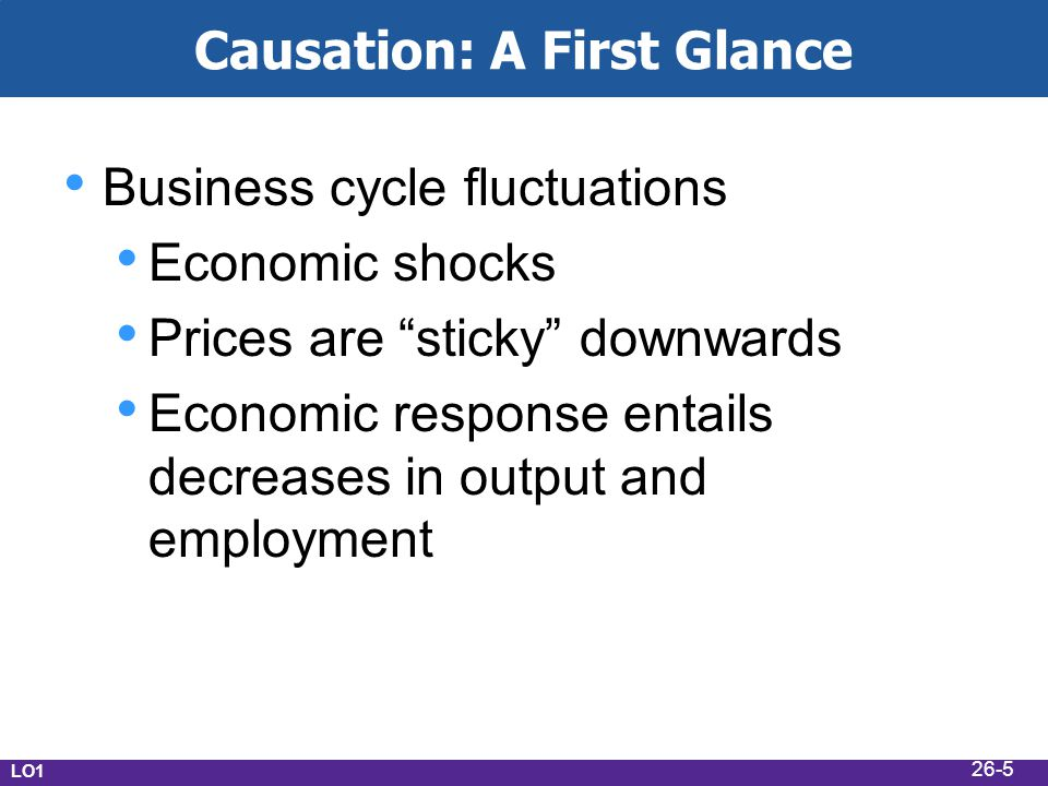 Causation: A First Glance Business cycle fluctuations Economic shocks Prices are sticky downwards Economic response entails decreases in output and employment LO1 26-5