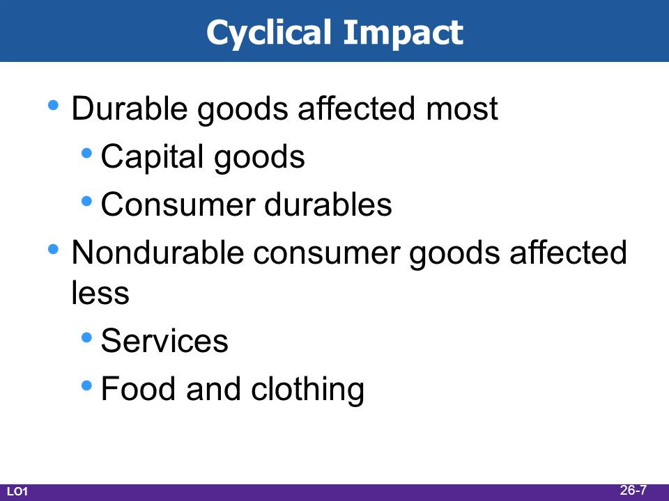 Cyclical Impact Durable goods affected most Capital goods Consumer durables Nondurable consumer goods affected less Services Food and clothing LO1 26-7