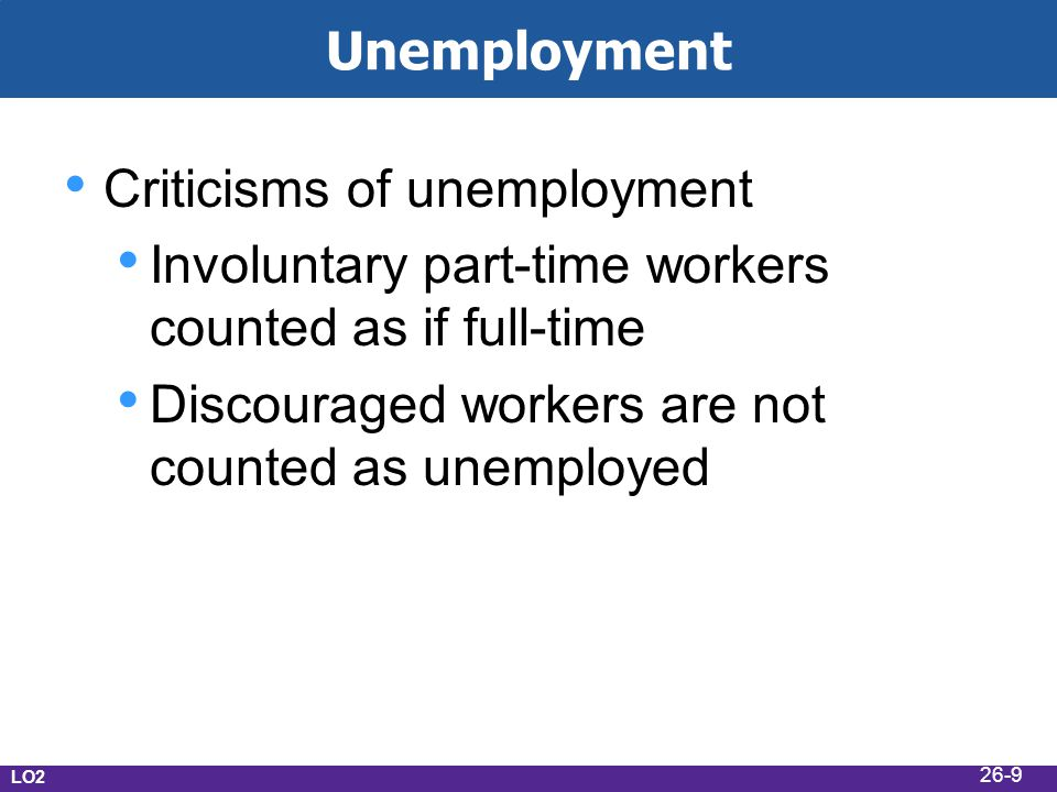 Unemployment Criticisms of unemployment Involuntary part-time workers counted as if full-time Discouraged workers are not counted as unemployed LO2 26-9