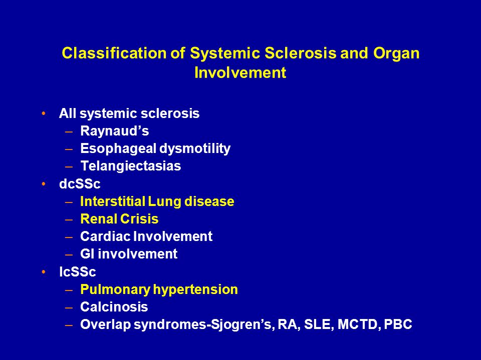 Classification of Systemic Sclerosis and Organ Involvement All systemic sclerosis –Raynaud's –Esophageal dysmotility –Telangiectasias dcSSc –Interstit