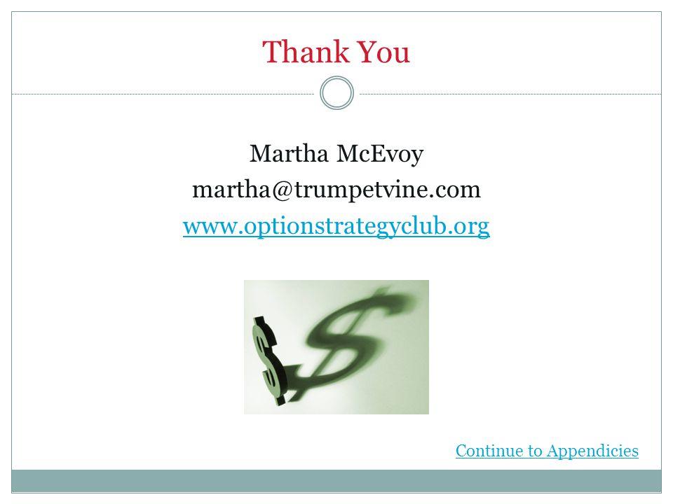 Thank You Martha McEvoy martha@trumpetvine.com www.optionstrategyclub.org Continue to Appendicies
