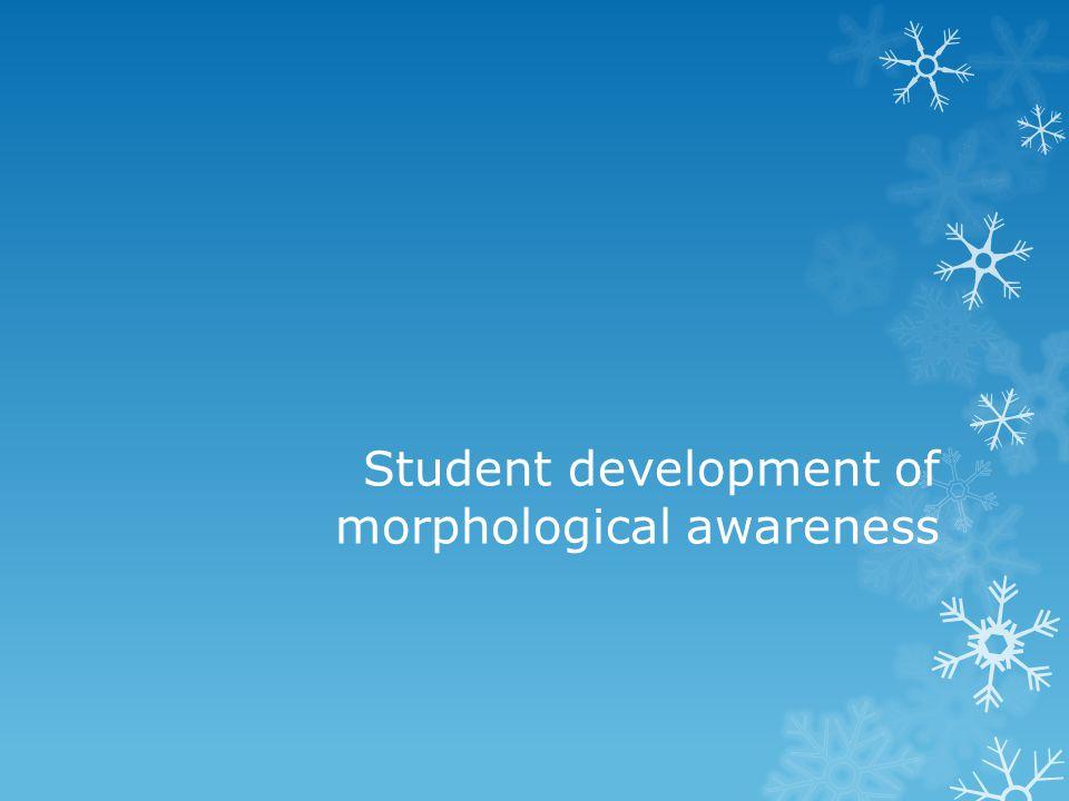 Student development of morphological awareness
