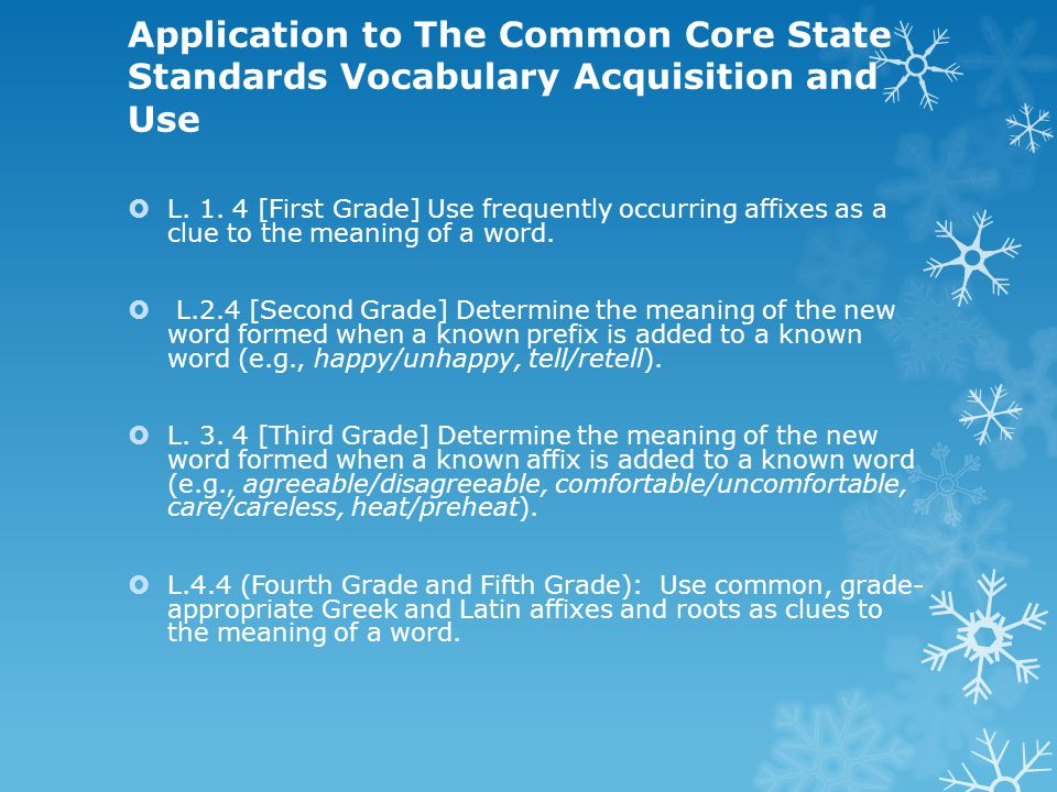 Application to The Common Core State Standards Vocabulary Acquisition and Use  L.