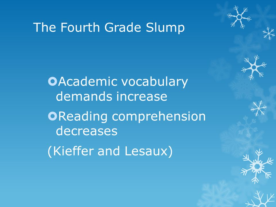 The Fourth Grade Slump  Academic vocabulary demands increase  Reading comprehension decreases (Kieffer and Lesaux)