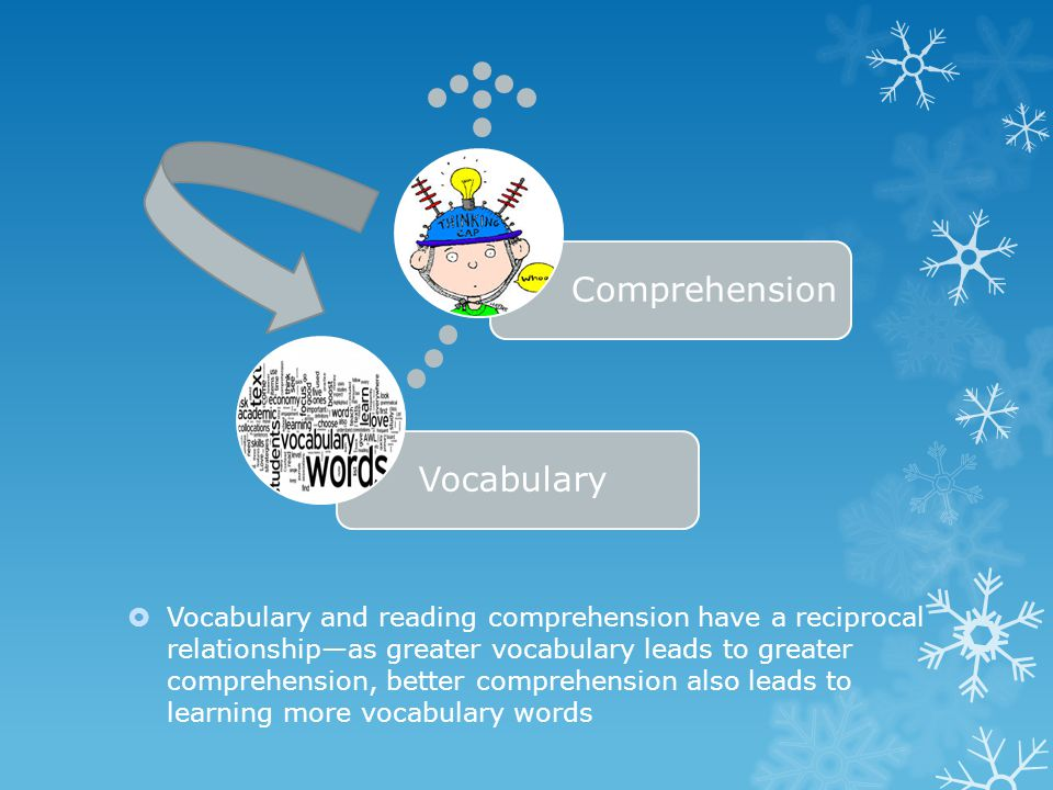  Vocabulary and reading comprehension have a reciprocal relationship—as greater vocabulary leads to greater comprehension, better comprehension also leads to learning more vocabulary words VocabularyComprehension