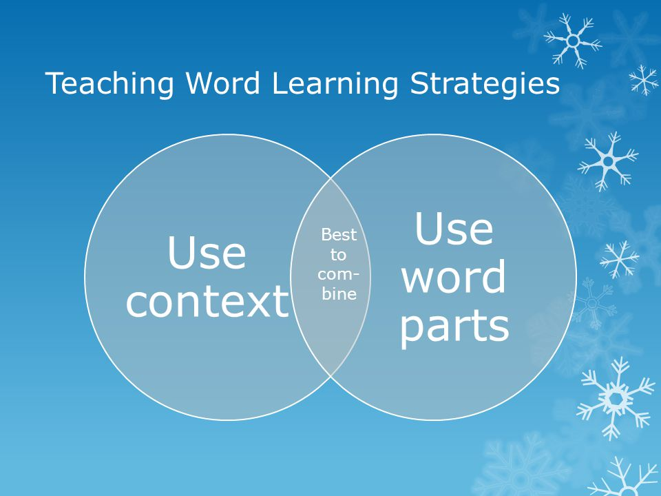 Teaching Word Learning Strategies Use context Use word parts Best to com- bine