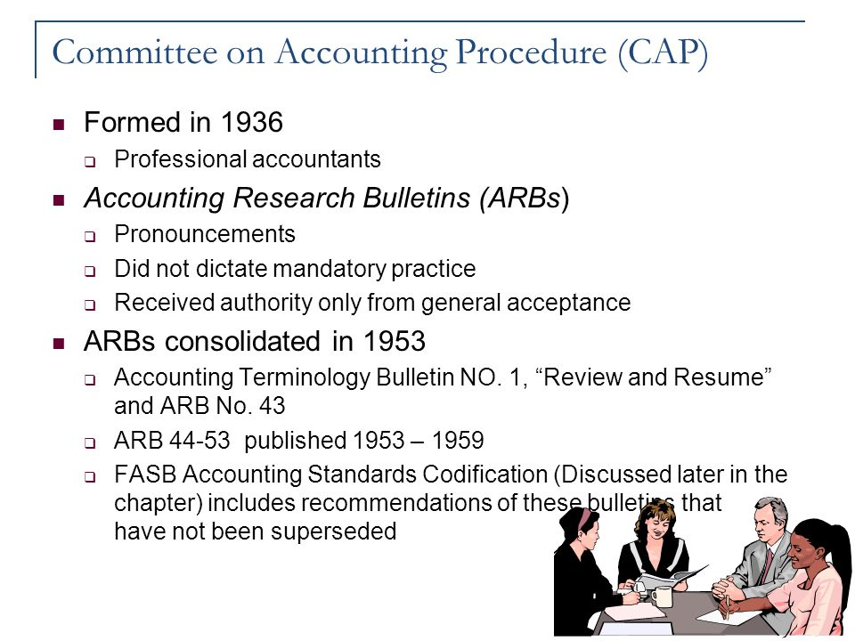 Committee on Accounting Procedure (CAP) Formed in 1936  Professional accountants Accounting Research Bulletins (ARBs)  Pronouncements  Did not dict