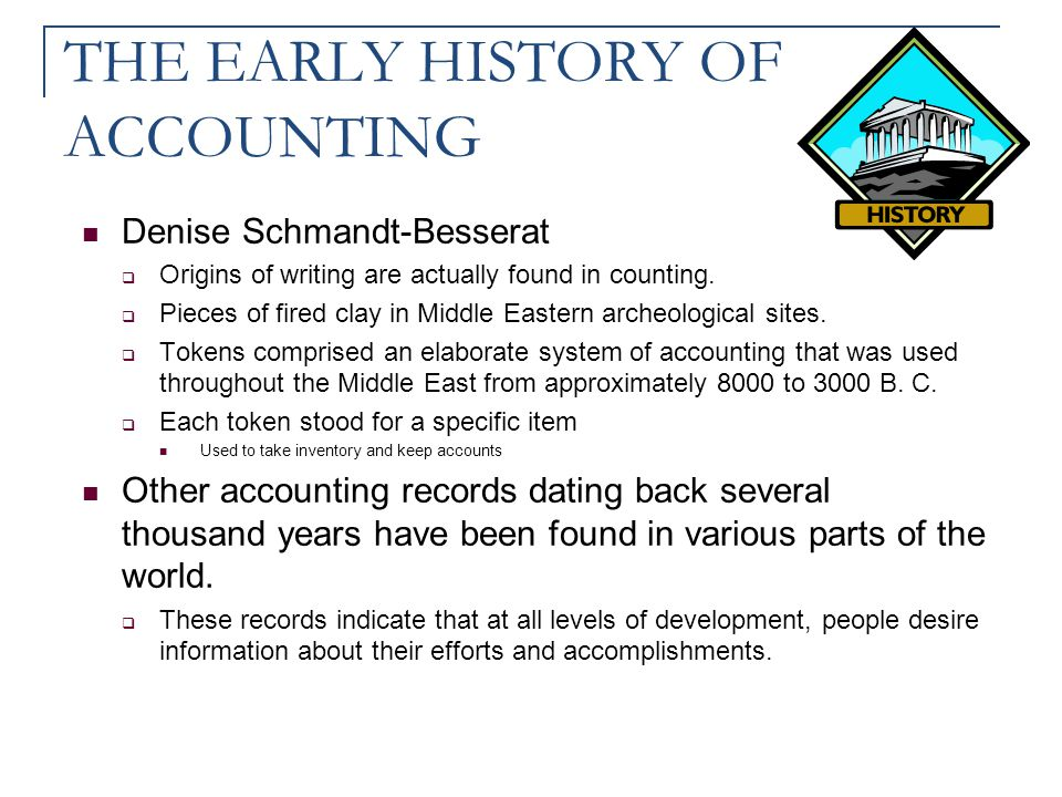 THE EARLY HISTORY OF ACCOUNTING Denise Schmandt-Besserat  Origins of writing are actually found in counting.  Pieces of fired clay in Middle Eastern