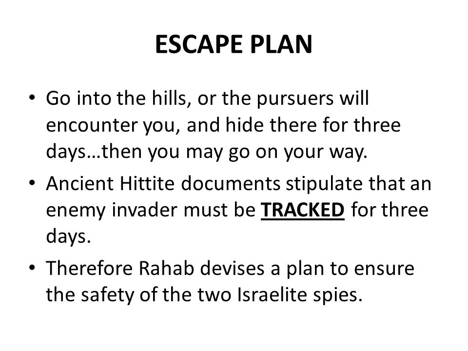 ESCAPE PLAN Go into the hills, or the pursuers will encounter you, and hide there for three days…then you may go on your way. Ancient Hittite document