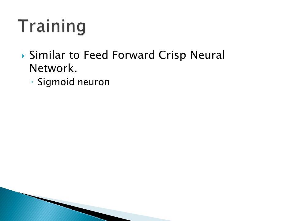  Similar to Feed Forward Crisp Neural Network. ◦ Sigmoid neuron