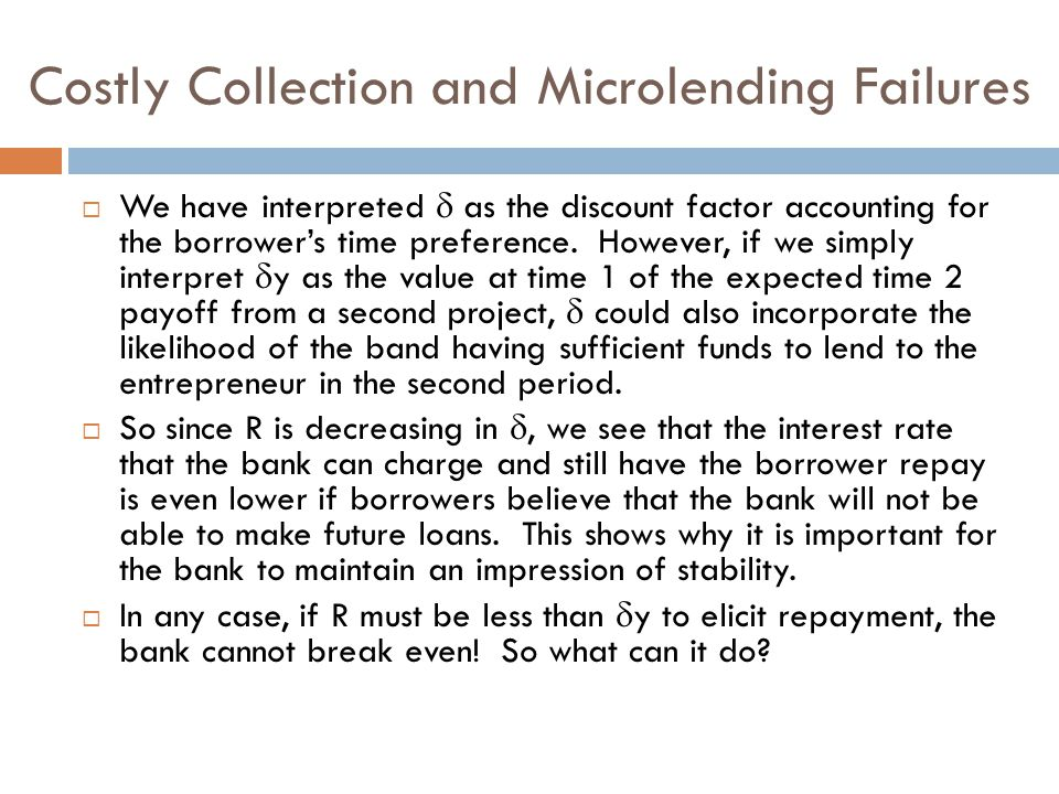 Costly Collection and Microlending Failures  We have interpreted  as the discount factor accounting for the borrower's time preference.