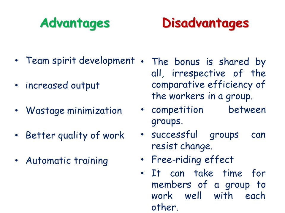 Advantages Team spirit development increased output Wastage minimization Better quality of work Automatic training Disadvantages The bonus is shared b