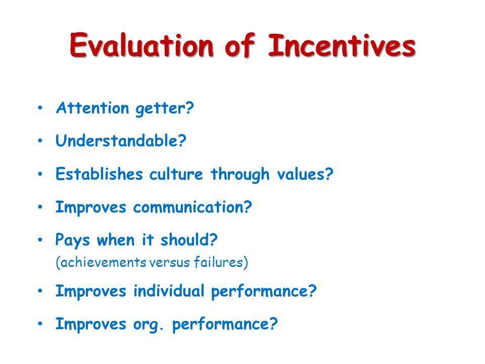 Evaluation of Incentives Attention getter? Understandable? Establishes culture through values? Improves communication? Pays when it should? (achieveme