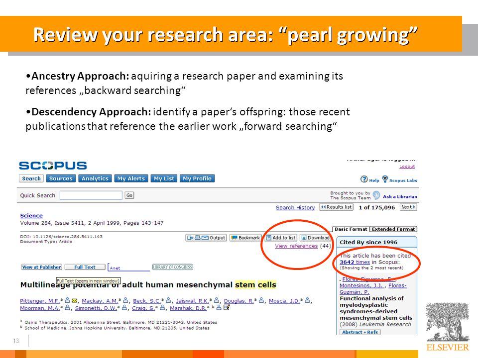 "13 Review your research area: ""pearl growing"" Ancestry Approach: aquiring a research paper and examining its references ""backward searching"" Descenden"