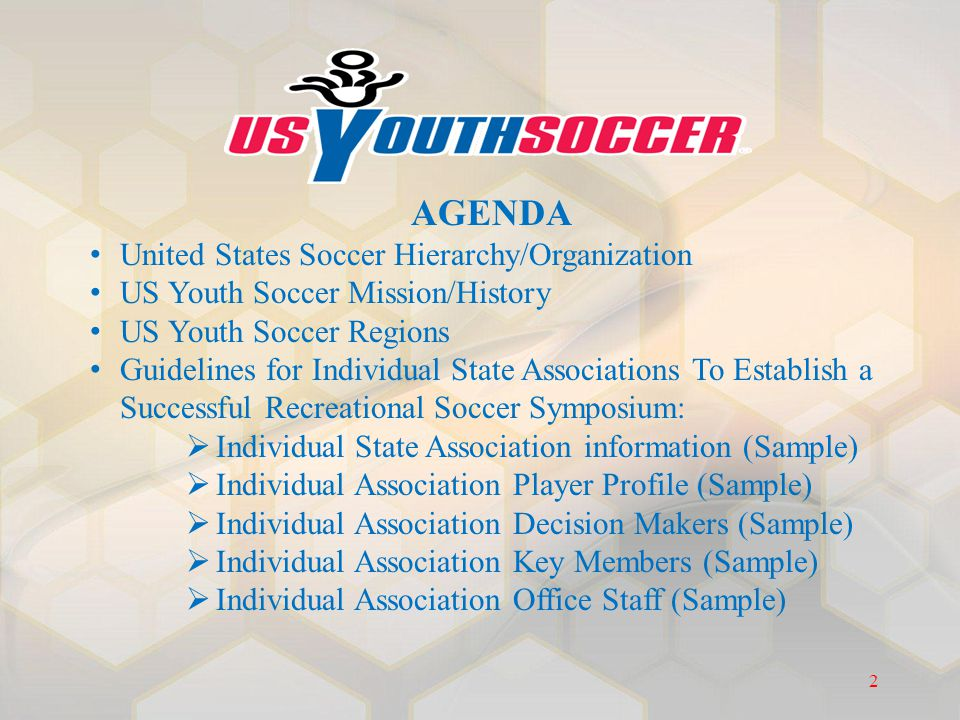 AGENDA United States Soccer Hierarchy/Organization US Youth Soccer Mission/History US Youth Soccer Regions Guidelines for Individual State Association