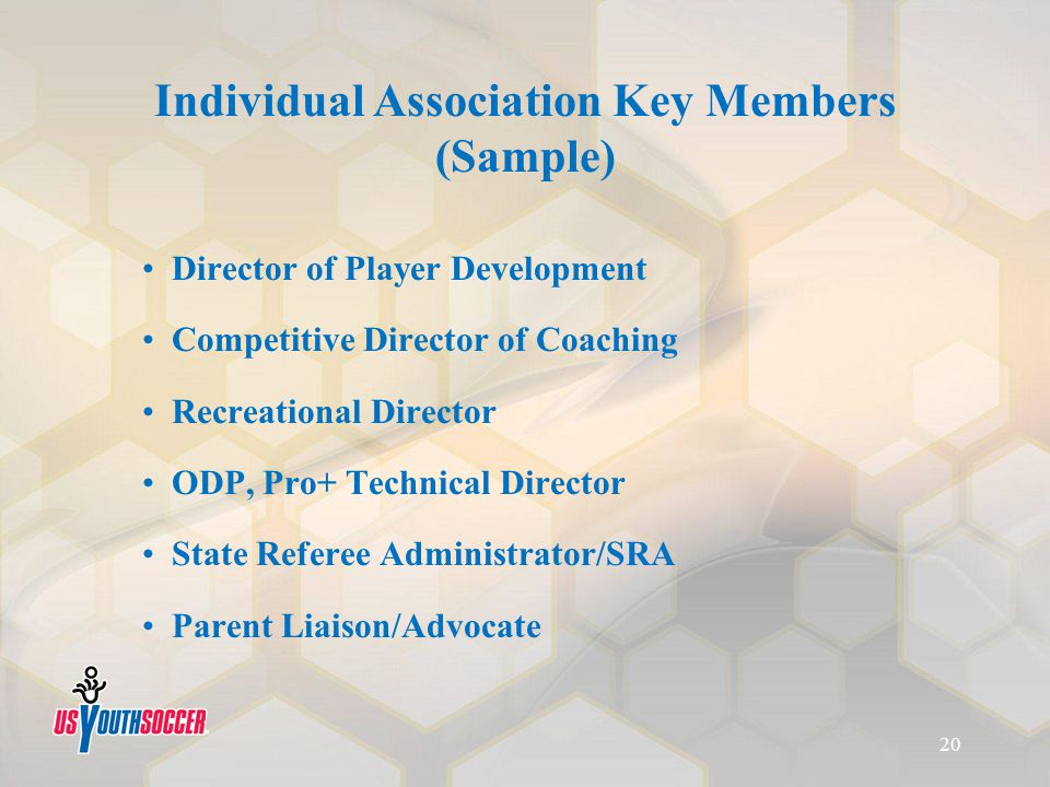 Individual Association Key Members (Sample) Director of Player Development Competitive Director of Coaching Recreational Director ODP, Pro+ Technical