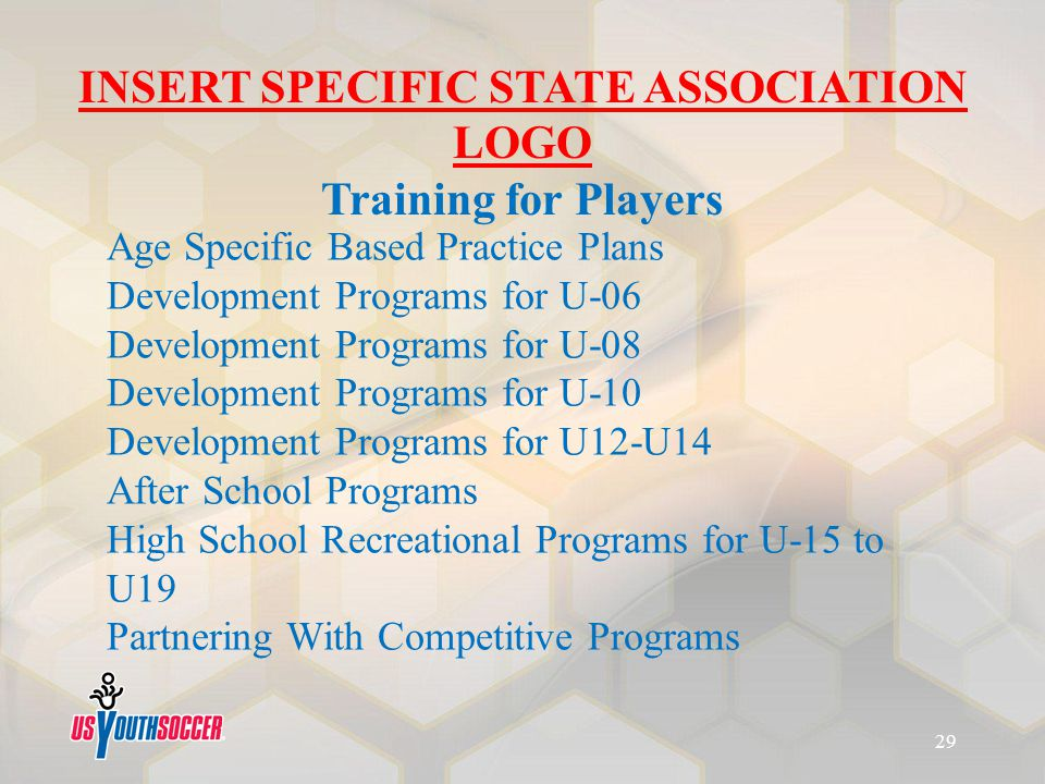Age Specific Based Practice Plans Development Programs for U-06 Development Programs for U-08 Development Programs for U-10 Development Programs for U